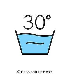Vector delicate laundry, 30 degrees washing temperature flat color line icon.