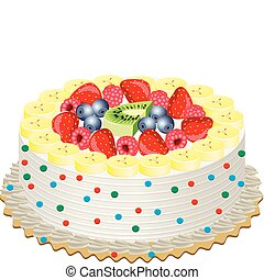 cream cake with fruits - vector delicious cream cake with ...