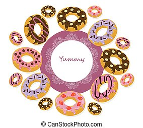 Vector delicious donuts round card for menu, invitation, party,