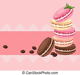 Vector delicious macaroons card for menu, invitation, party,