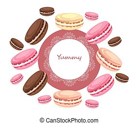 Vector delicious macaroons round card for menu, invitation, party,