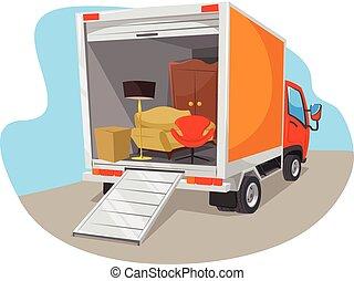 Vector delivery car flat illustration