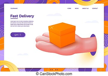 Vector delivery cartoon realistic hand holding box