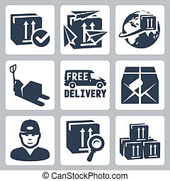 Vector delivery icons set: box, paperplanes, globe, pallet ...