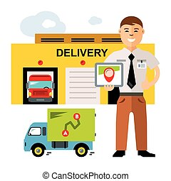 Vector Delivery. Logistics center. Flat style colorful Cartoon illustration.