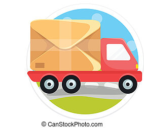 Vector Delivery Truck Round Icon
