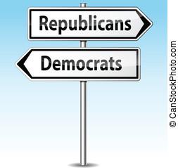 Vector democrats and republicans directions concept