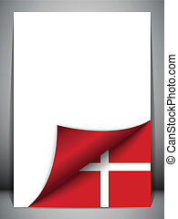 Denmark Country Flag Turning Page - Vector - Denmark Country...