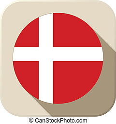 Denmark Flag Button Icon Modern