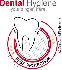 Vector dentist logo design template. Tooth symbol for Dental clinic or mark for dental hygiene. Circular red white black design.
