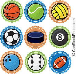 vector, deporte, conjunto, pelotas