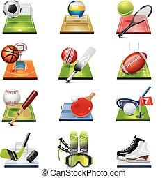 vector, deporte, icono, conjunto
