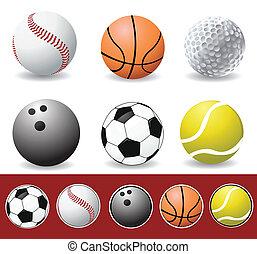 vector, deporte, pelotas