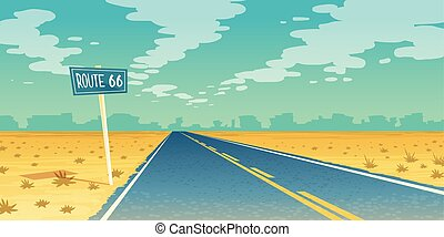 Vector desert landscape with asphalt route 66 - Vector...