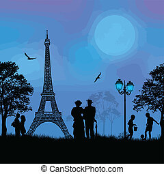 Paris cityscape and people silhouet