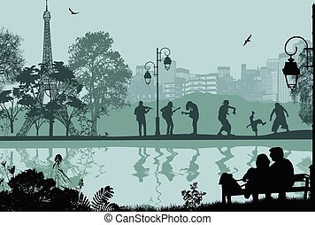 Paris cityscape and people silhouettes