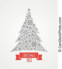 Vector design concept with Christmas tree made from snowflakes