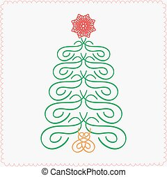 Hand-drawn christmas tree. Typographic and calligraphic. Vector illustration.