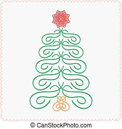 Vector design element. Hand-drawn christmas tree. Typographic and calligraphic.