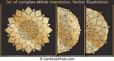 Vector design element. Template for creating logo, icon, symbol, emblem, monogram frame. mandala set.