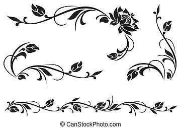 floral ornament - vector design elements for floral ornament