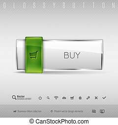 Vector design elements Green and gray glossy button with set of icons