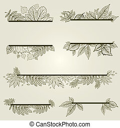 Vector design elements with leafs