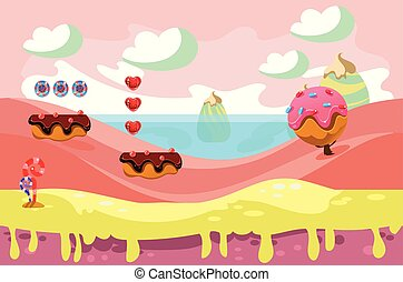 Vector design for background of fantasy game. Sweet land. Fairy tale landscape with chocolate glazed blocks, candies, ice-cream tree and whipped cream