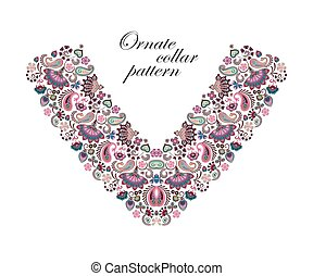 Vector design for collar shirts, shirts, blouses. Colorful ethnic flowers neck. Paisley decorative border. Ornate collar pattern. Pastel blue pink beige