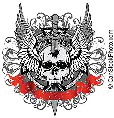 skull punched by sword - Vector design for T-short skull ...