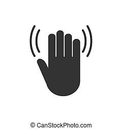 vector, design., icon., hand, illustratie, plat, hallo, golf