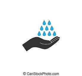 vector, design., icon., mano, ilustración, plano, lavado