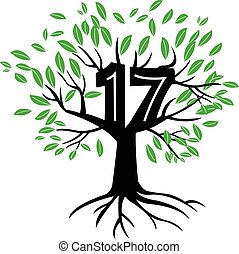 17 Years Anniversary Tree Logo