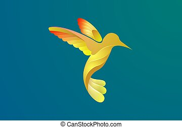 Vector design of a bird in flight with various bright colors.