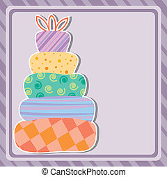 card with birthday cake and copy-space