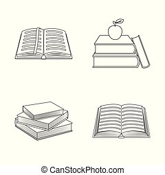 Vector design of and library icon. Collection of and textbook stock vector illustration.