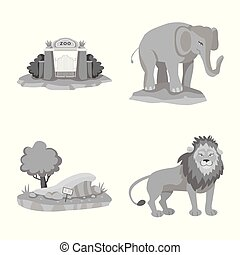 Vector design of and park icon. Set of and animal stock vector illustration.