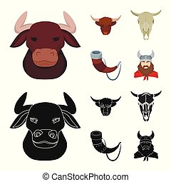 Vector design of antler and animal icon. Collection of antler and death stock symbol for web.
