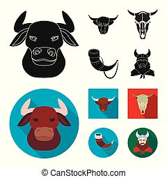 Vector design of antler and animal icon. Set of antler and death stock symbol for web.