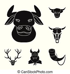 Vector design of antler and animal logo. Set of antler and death stock symbol for web.