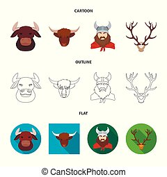 Vector design of antler and animal symbol. Collection of antler and death stock symbol for web.