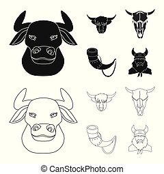 Vector design of antler and animal symbol. Set of antler and death stock symbol for web.