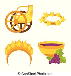 Vector design of attributes and greek symbol. Collection of attributes and god stock vector illustration.