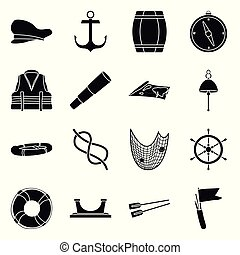 Vector design of attributes and vintage icon. Set of attributes and sea vector icon for stock.