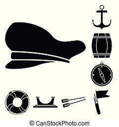 Vector design of attributes and vintage logo. Collection of attributes and sea vector icon for stock.