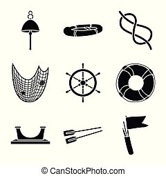 Vector design of attributes and vintage sign. Set of attributes and sea vector icon for stock.