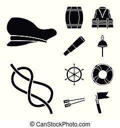 Vector design of attributes and vintage symbol. Collection of attributes and sea vector icon for stock.
