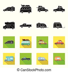 Vector design of auto and journey icon. Set of auto and trailering stock vector illustration.