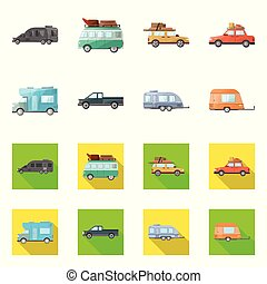 Vector design of auto and journey logo. Set of auto and trailering vector icon for stock.
