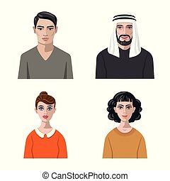 Vector design of avatar and face icon. Set of avatar and profile stock symbol for web.